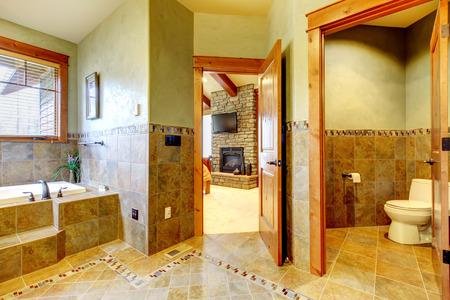 Luxury master bathroom with elegant interior. Stock Photo