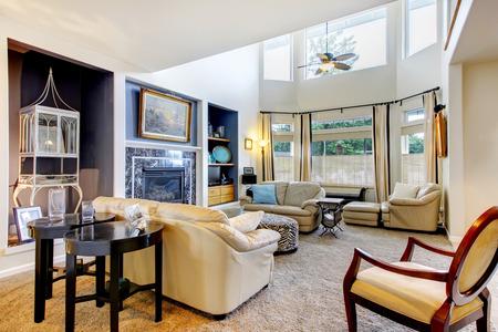 Modern living room with carpet, and elegant decor.