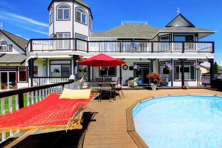 luxuary pool of nice house. Stock Photo