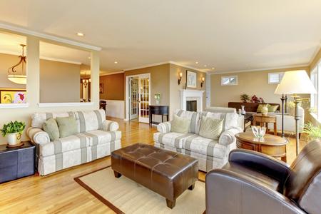 Interior design of cozy classic living room with hardwood floor
