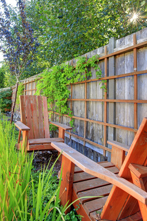 back yard: Small green fenced back yard with garden and shed. Stock Photo