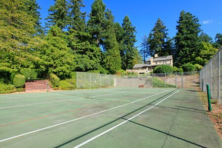 Home tennis court in a bautiful large home estate near Seattle