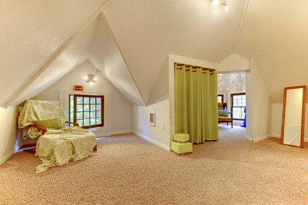 attic: Lovely bright attic living room with vaulted ceiling, carpet, armchair and mirror.
