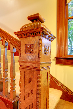 nicely: Nicely curved wooden stairway.