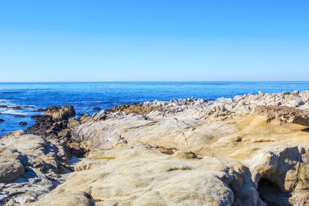 coastlines: Stones ocean beach.  Pacific Northwest north of Seattle. Carmel, California Stock Photo