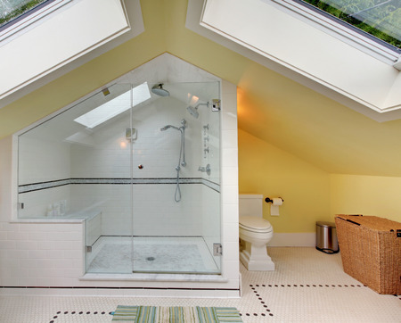 vaulted ceiling: Modern bathroom upstairs with large shower, toilet and vaulted ceiling. Stock Photo