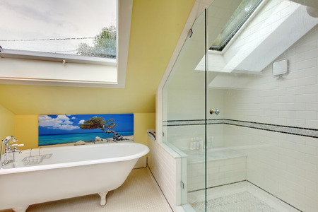 vaulted ceiling: Bright bathroom interior upstairs with shower, bathtub and vaulted ceiling. Stock Photo