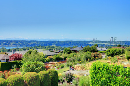 northwest: Panoramic view of American northwest city in summertime.