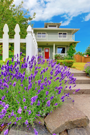 american house: American green two level house exterior with white trim and red entrance door. Also walkway with flower bed. Stock Photo