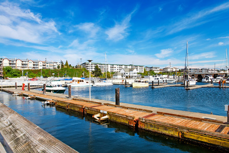 harbour: Bar Harbor in summertime, Des Miens, WA Editorial