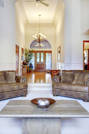 high ceiling: Luxury high ceiling living room interior with leather sofas and carpet floor. View of hallway with hardwood floor and entrance door.