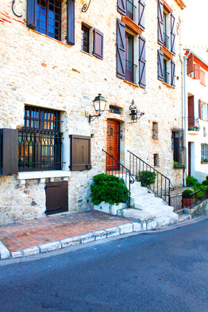 old city: Antibes, France - October 17, 2011: Street in the old town Antibes in France.