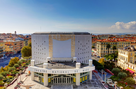 Nice, France - October 17, 2011: Modern architecture of the Theatre National de Nice.
