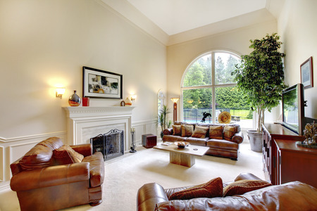 high ceiling: Luxury high ceiling living room interior with fireplace, leather sofas and arched window. Decorated with green tree in a pot.