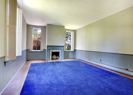 Empty living room interior.  Antique fireplace with blue mental and white marble, siding wall trim. Stock Photo