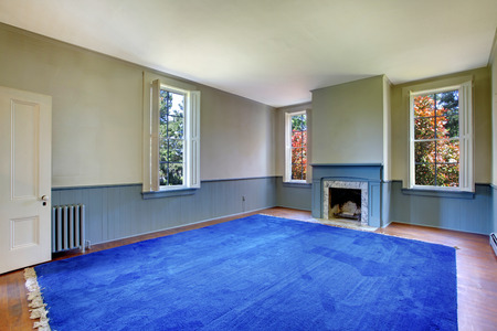 blue carpet: Empty living room interior.  Antique fireplace with blue mental and white marble, siding wall trim and blue carpet.