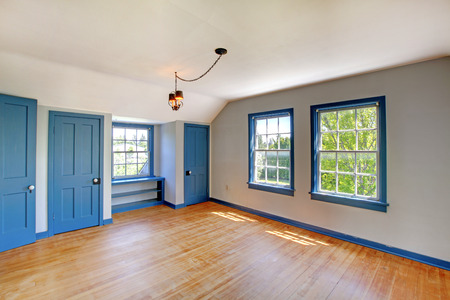 unfurnished: Empty basement room interior with blue doors, vaulted ceiling and hardwood floor. Stock Photo