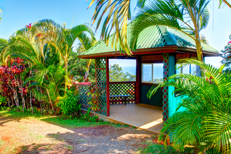 eden: Gazebo in tropical garden with flowers and palm trees overlooking the ocean with blue sky. Garden Of Eden, Maui Hawaii
