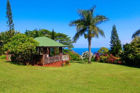 garden of eden: Gazebo in tropical garden with flowers and palm trees overlooking the ocean with blue sky. Garden Of Eden, Maui Hawaii