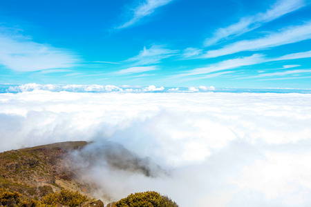dormant: Landscape of Haleakala National Park in Maui includes an ancient dormant volcano where visitors can hike around the rim or inside the crater. Stock Photo