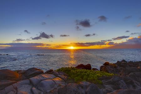 hawaii sunset: Island Maui tropical cliff coast line with ocean. Hawaii. Sunset