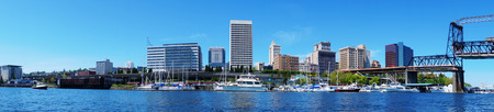 tacoma: Tacoma downtown water view with business buildings. Northwest. Washington State. American town.