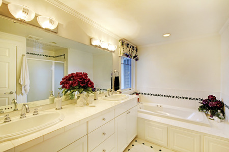 white trim: Elegant white bathroom interior with two sinks and large mirror. Also nice bathtub with tile trim and flower decor.
