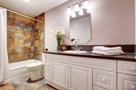 Bathroom With White Cabinets And Title Floor Mirror Stock
