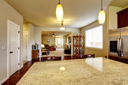 open floor plan: House interior with Open floor plan. Kitchen interior with hardwood floor and Cozy living room in light tones.