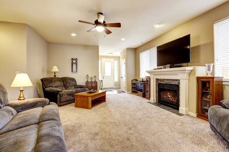 asian business: Living room interior in classic American style with beige walls, gray sofa set and fireplace with tile trim.