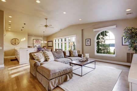 vaulted ceiling: Cozy living room and dining room interior in beige tones with vaulted ceiling and hardwood floor. Open plan.