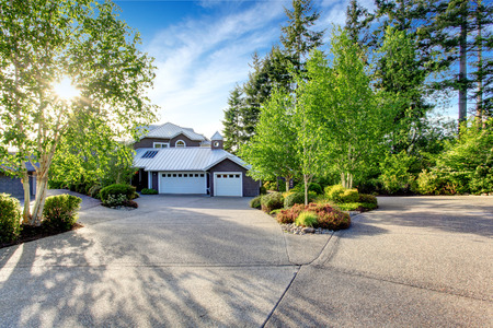 curb appeal: Modern house exterior with curb appeal. View of garage and spacious driveway with birch trees around.