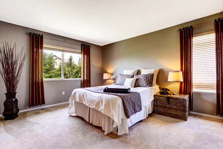furnished: Bedroom interior with carpet floor and big bed. American northwest house