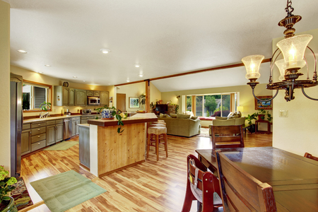 Home interior with hardwood floors and open floor plan showing dining room, kitchen, and living room. Cozy atmosphere.