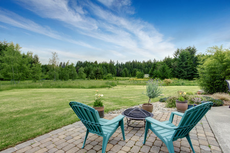 lawn area: Beautiful house backyard with well kept lawn, trees. View from patio area