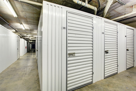 storage units: White storage units in the basement for apartment building