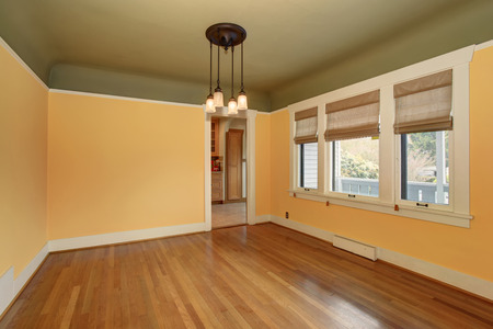 Unfurnished empty room interior in yellow and green tones with white trim.