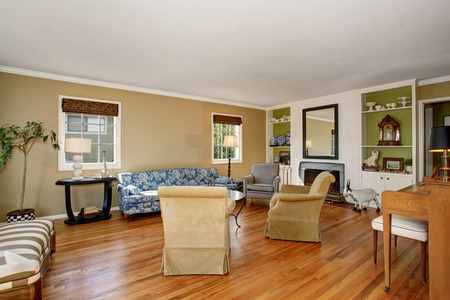 classic living room: Classic American living room interior. Beige and green walls, hardwood floor and comfortable sofa set create cozy atmosphere.