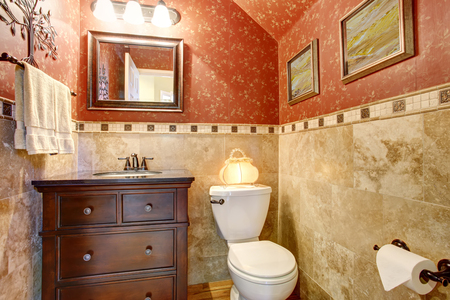 vaulted ceiling: Luxury small red bathroom interior design. Vaulted ceiling and marble tile wall