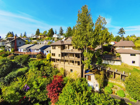 three story: Amazing panoramic view from the balcony of three story house. Stock Photo
