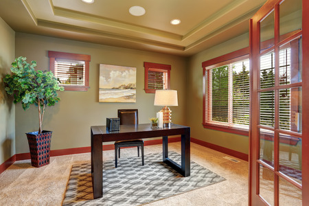 home office: Modern home office interior with well designed wooden desk. Decorative tree in beautiful pot