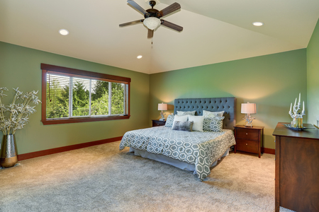 Cozy bedroom with blue bed, buttons headboard, beige carpet and green walls.