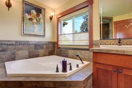 master bath: Lovely master bathroom interior. White bath tub with stone tile trim. Nice picture on the wall