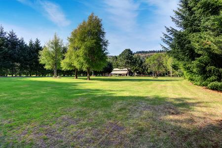 Amerikanische Landhaus exter mit beeindruckenden Hinterhof Landschaft
