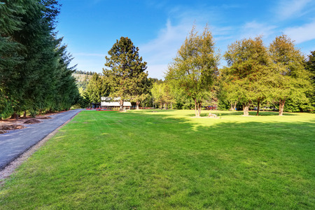 asphalt: American country house exterior with asphalt driveway and impressive landscape Stock Photo