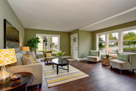 green walls: Living room interior with green walls hardwood floor and rug. Black coffee table
