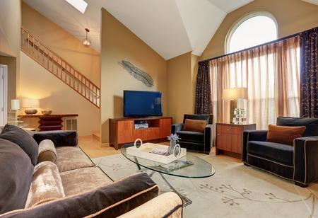 Belle brune et beige salon avec plafond voûté. Meublé avec beau canapé, table basse en verre, armoires et cheminée