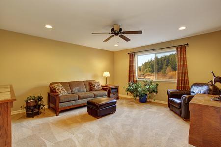 floor lamp: Living room iinterior with sofa, carpet floor and wooden furniture