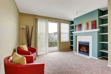 fireplace living room: Classic living room interior with carpet and fireplace.