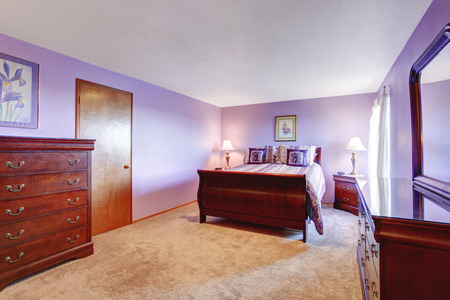 bedroom furniture: Perfect bedroom with purple theme, wooden furniture and carpet floor